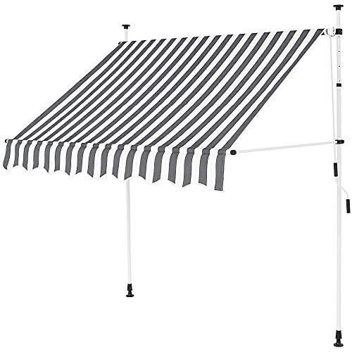 Jawoll Klemm-Markise 1,5 x 1,2 m grau-weiß (Profilfarbe: Weiß) Sonnenschutz