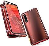 Hülle für Realme X50 Pro 5G Magnetische Adsorption Tech Handyhülle Vorne hinten Gehärtetes Glas Unibody Design Starke Magneten Einbaurahmen Stoßfest Metall Flip Cover, Rot