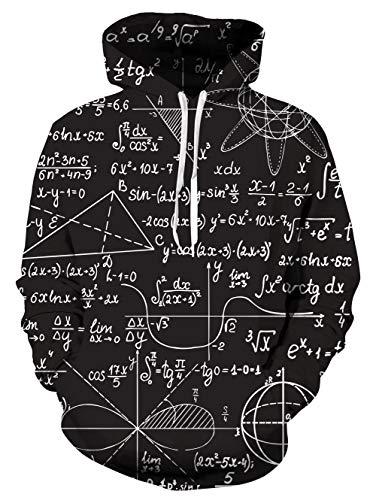 uideazone 3D Drucken Mathematik Hoodies Mathematik Schwarz Kapuzenpullover Langarm Sweatshirt mit Taschen,XXL-3XL,Mathematik