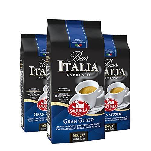 Saquella Caffe Saquella Espresso Bar Italia Gran Gusto Bohnen, 3er Pack (3 x 1 kg)