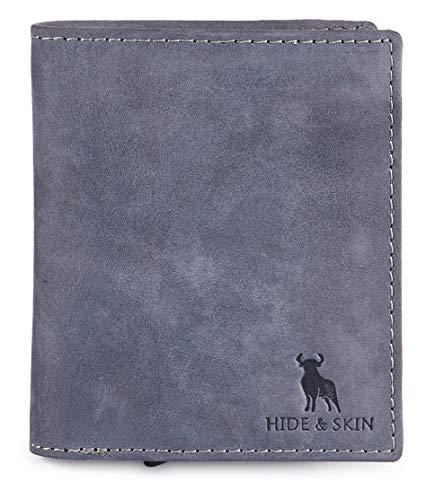 HIDE & SKIN Metal Logo Genuine Leather Wallet with Detachable Card Case for Men,Valentines Day Gift for him, Husband and Boyfriend (Vintage Navy) (Battle Green)