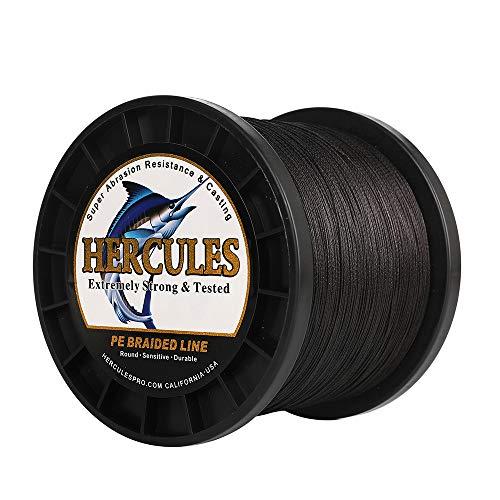 HERCULES Super Cast 500M 547 Yards Braided Fishing Line 150 LB Test for Saltwater Freshwater PE Braid Fish Lines Superline 8 Strands - Black, 150LB (68KG), 0.62MM