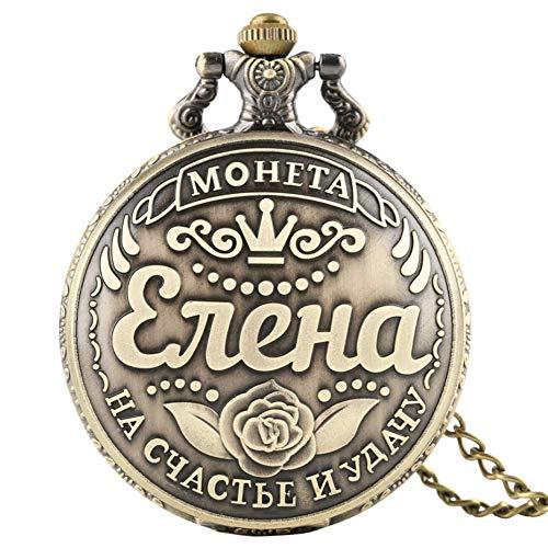 JHYMM Taschenuhr Präge Russische Münzen Display Quarz Taschenuhr Retro Coole Halskette Anhänger Uhr Geschenke für Männer Frauen Bronze Fob Kette