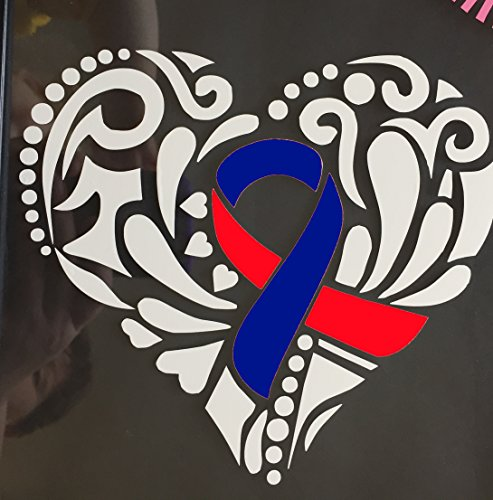 Red And Blue Ribbon Tribal Heart Window Decal (Congenital Heart Defect,Congenital Heart Disease, hypoplastic Left Heart,Noonan's Syndrome)