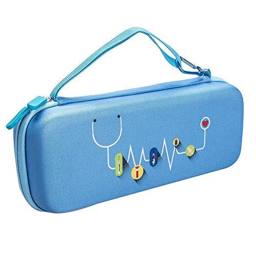 KT-Case Funda para estetoscopio, compatible con 3M Littmann 5803 Classic III Estetoscopio bolsa de viaje Omron ADC Dixie EMS caja de almacenamiento multifunción de moda (azul claro)