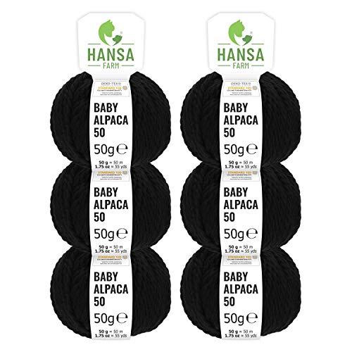 HANSA-FARM 100% Laine d'alpaga (bebé) dans 50+ Couleurs (ne Gratte Pas) - Kit de 300g (6 x 50g) - Laine Baby alpaga pour Tricot & Crochet dans 6 épaisseurs de Fil de Noir