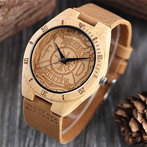 IOMLOP Reloj de Madera, artesanía de Lujo, Regalos, Grabado, Esfera de Bombero, Reloj de Madera de Cuarzo de bambú Ligero, Reloj Deportivo deCuero para Hombre, Reloj de Hora Masculino