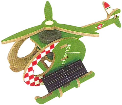 3D wooden puzzle kit color helicopter A PS230 to move (japan import)