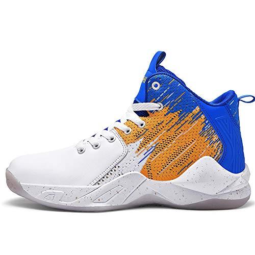 FJJLOVE Botas De Baloncesto para Niño, Top Alto Botas De Baloncesto De Absorción De Impactos Zapatillas De Baloncesto Antideslizantes Zapatillas De Deporte Resistente Al Desgaste,Azul,40