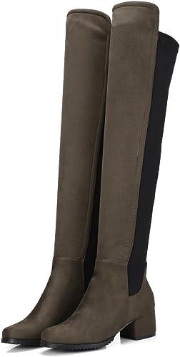 DYF Chaussures Femmes Bottes Longue Fourreau Velours Haute Tête Ronde Nouilles,élastique Vert Militaire,42