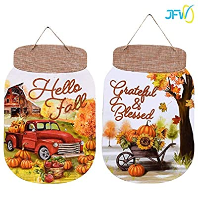 Fall Autumn Thanksgiving Harvest Decorative Harvest Mason Jar Shaped Wall Signs, 13.5x8.5 in.(2) Wall Hangers Home Decor Sign (Bundle with Fall Jingle)