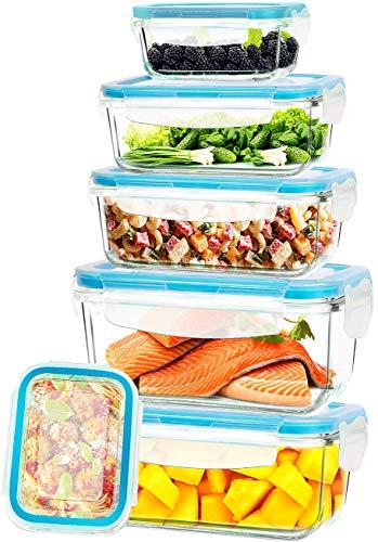 KICHLY - Récipients de conservation en verre - 12 pièce (6 récipient avec 6 couvercle) - étanche, résistant au lave-vaisselle au micro-ondes et au congélateur - sans BPA, Approuvé FDA & FSC