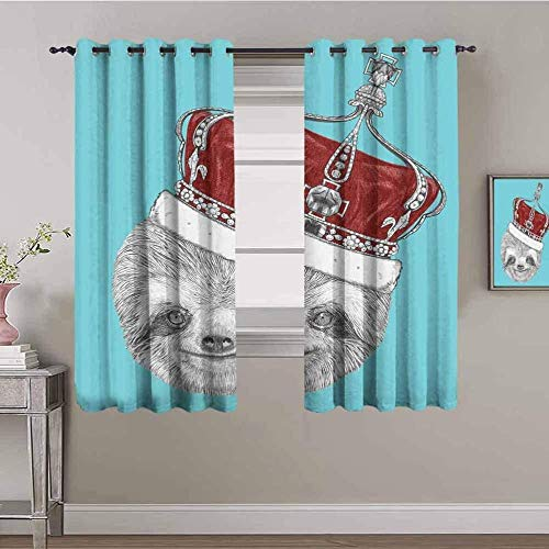 ZLYYH noise reducing curtains Cute animal sloth crown W55'xL90'(27'x90'x2 panels) Eyelet Ring Top Thermal Insulated Soft Window Darkening Panel Kitchen Set Super Soft for Livingroom Nursery Boy Room D
