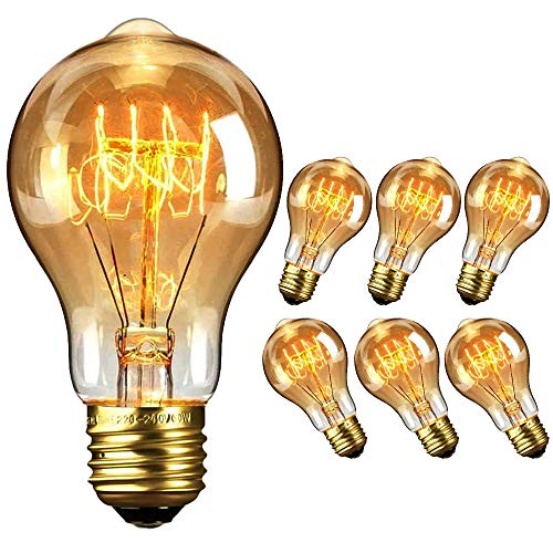 Vintage Edison Light Bulbs, Long Life Marconi Squirrel Cage Filament Bulb, Amber Warm, 6 Pack (40w) Yellow