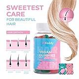 Ltanis Viteddy Hair Gummy Vitaminas Biotina y vitamina D masticables vegetarianas para el crecimiento del cabello, uñas y piel