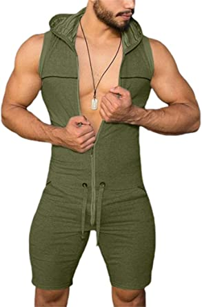 Men Casual Jumpsuits One Piece Zipper Hoodie Bodysuits Drawstring Romper Sleeveless Overalls with Pocket Fitness Sportswear M-3XL