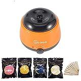 lunch box Depilación Cera Calentador Eléctrico De Cera-Melt Máquina Calentador De Frijoles 100G Y Sets De Eliminación del Pelo del Palillo Aplicador 10Pcs Set Depilación,Naranja