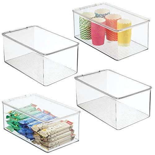 mDesign Set da 4 organizer cucina con coperchio – Vaschetta da frigo impilabile per cucina e dispensa – Contenitore alimenti per tè, caffè e snack in plastica senza BPA – trasparente