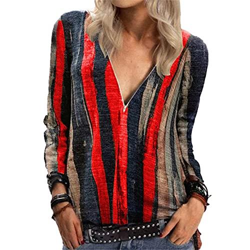 Mayntop Camiseta para mujer, de verano, otoño, de corte bajo, vintage, manga corta, estilo bohemio, estilo étnico, blusa, B-rojo, 42