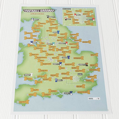 92 Club Football Grounds Collect and Scratch Off Travel Map - Maps International - 29 x 42cm