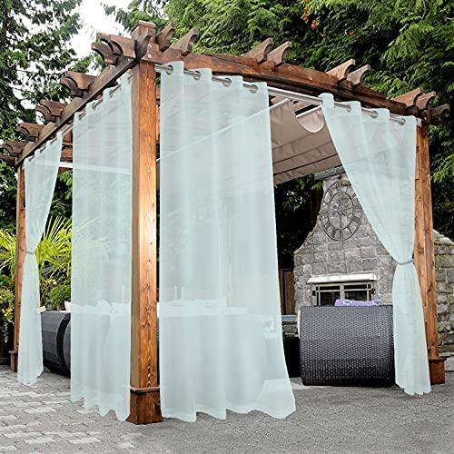 BONZER Waterproof Indoor/Outdoor Sheer Curtains for Patio - Grommet Voile Curtains for Living Room, Bedroom, Porch, Pergola, Cabana, Set of 2 Panels, 54 x 84 inch, Seafoam