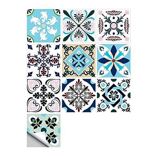 ESORST 10 unids/Set Ornamento Floral Piso de la Pared Pegatina de la Pared Cocina Cerámica Cerámica Calcomanías de la Pared Impermeable Crystal Tile Art Mural (Color : N, Size : 30cmX30cmX10pcs)
