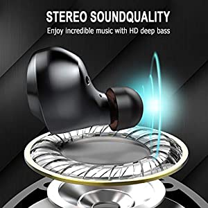 Donerton Wireless Headphones, Bluetooth Earbuds Wireless Earphones 5.0 IP7 Waterproof in Ear Headset for Sport, 8H Continuous Playtime, Deep Bass TWS Earbuds, Built-in HD Dual Mics for Call, White