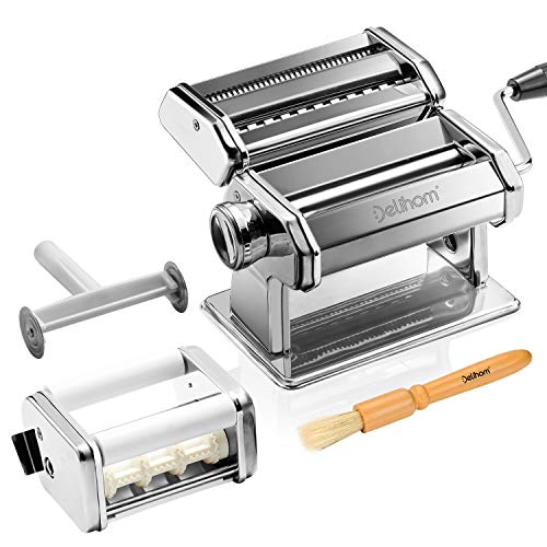Delihom Pasta Maker  Stainless Steel Pasta Machine Cutter Ravioli Attachment and 4 Piece Pasta Roller Accessories for Homemade Spaghetti and Ravioli