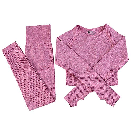 Conjunto de yoga sin costuras para mujer, ropa de gimnasio, ropa de manga larga, pantalones de entrenamiento, rosa, M