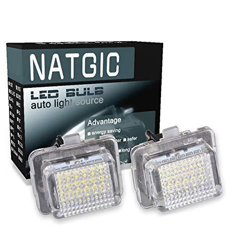 NATGIC 1 Paire éclairage de Plaque d'immatriculation 3528 puces 18SMD Intégré CANBUS étanche Numéro de LED Ensemble de Lampe de Plaque d'immatriculation 12V 2W - 6000K Blanc
