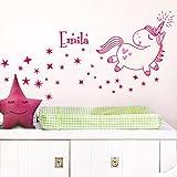 Grandora W5468 Wandtattoo 2-farbig Niedliches Einhorn + Wunschname Herzen Sterne Baby Kinderzimmer pink (BxH) 58 x 48 cm