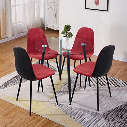 GOLDFAN Esstisch mit 4 Stuhl Kleiner Glastisch und Stoff Stuhl Runder Tisch Glas für Wohnzimmer Küche,Schwarz und Rot