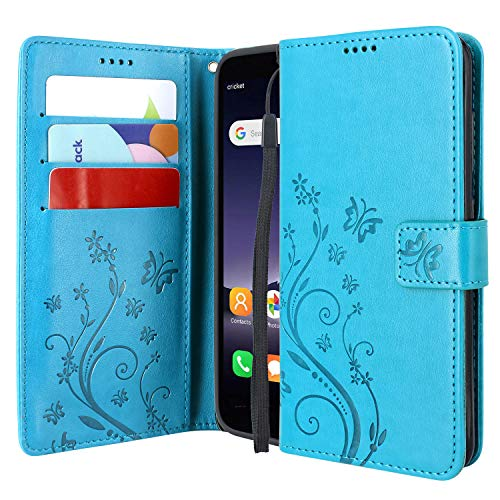 Lacass Floral Butterfly PU Leather Flip Wallet Case Cover Kickstand with Card Slots and Wrist Strap for Alcatel Insight Case/Alcatel TCL A1 Case (Blue)