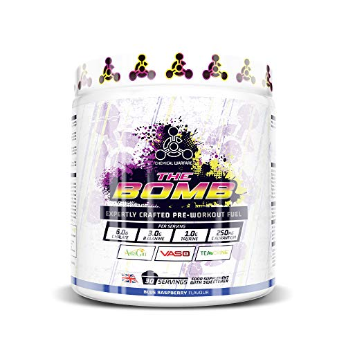 Strong Nootropic Pre Workout Supplement For Men & Women - (Blue Rasp) 30 Servings with Alpha GPC, Vaso 6, Teacrine, Astragin, Beta Alanine, Citrulline Malate - The Bomb