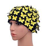 Medifier Gorro de natación vintage pétalos florales estilo retro gorras de baño para las mujeres amarillo