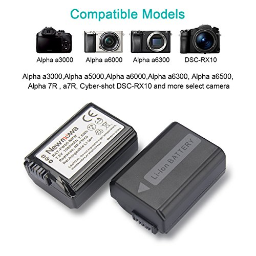 NP-FW50 Newmowa Replacement Battery (2 Pack) and Dual USB Charger for Sony NP-FW50 and Sony ZV-E10 a6000,a6100,a6300,Alpha a3000,Alpha a5000,DSC-RX10,RX10 IV