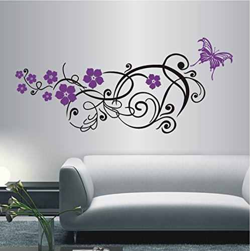 HomeTattoo ® WANDTATTOO Wandaufkleber Blumen Ranke 2 farbig Blumenranke Schmetterling 286 XL ( L x B ) ca. 66 x 150 cm (dunkelgrün 060)