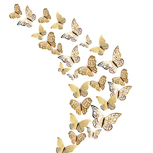 48Pcs Butterfly Decorations, Creatiees 3D Wall Decals Metallic Art Sticker, DIY Handmade Removable Pressure Resistance Paper Murals Gift for Home Kids Bedroom Nursey Party Décor
