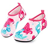 Sunnywoo Water Shoes for Kids Girls Boys,Toddler Kids Swim Water Shoes Quick Dry Non-Slip Water Skin Barefoot Sports Shoes AquaSocks for Beach Outdoor Sports,1-2 Little Kid,Mermaid