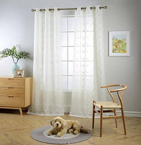 """MIUCO Sheer Curtains Embroidered Trellis Design Grommet Curtains 84 Inches Long for French Doors 2 Panels (2 x 37 Wide x 84"""" Long) Beige"""