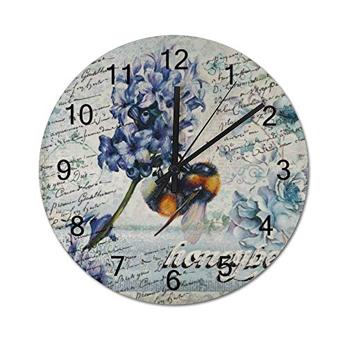 10 Zoll Nicht tickend lautlos rustikal runde hölzerne Wanduhr Honigbiene sammeln Honigblume Pflanze Frühling Biene Wildblume Hummel Vintage Bauernhaus Wanddekoration für Zuhause, Büro, Schule