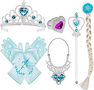 Princess Dress Up Costume Accessories Elsa Set For Princess Cosplay Gloves Tiara Wand and Fancy Long Cape(6 Pieces)