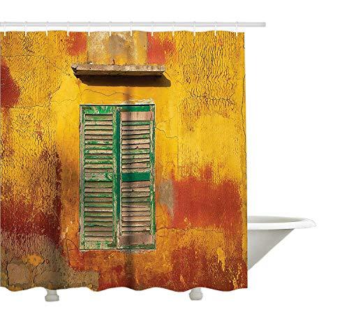 Yeuss volets Decor Collection, fen¨ºtre en bois et Vieux vintage Orange Maison en Saint Louis du S¨¦n¨¦gal classique Maison, tissu de polyester de salle de bain Rideau de douche