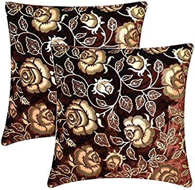 BHD CREATIONS™ Heavy and Soft Velvet Rose Embossed Cushion Cover Size - 24 x 24 inch (Large) (Brown, Pack of 2)