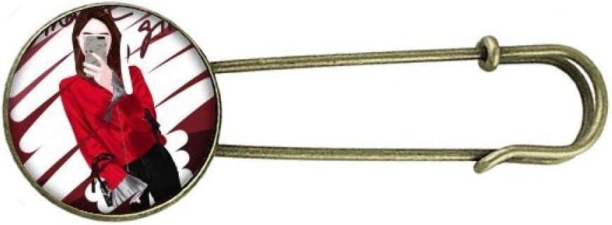 Smart Girl Figure Art Design Illustration Retro Metal Brooch Pin Clip Jewelry