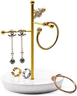 Oirlv 3 Tier Jewelry Organizer Tabletop Metal Necklace Hanger Bracelet Earring Ring Holder Display Tree (Gold)