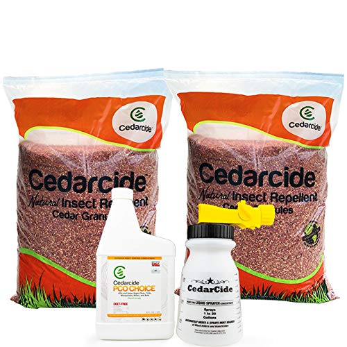 Cedarcide Outdoor Lawn and Garden Kit (Medium) Includes PCO Choice Cedar Oil Bug Killing Concentrate Quart and Insect Repelling Granules Kills and Repels Fleas, Ants, Mites, & Mosquitoes