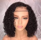 Jessica Hair 13x6 Lace Front Wigs Human Hair Short Bob Wigs Pre Plucked With Baby Hair Curly Brazilian Remy Hair Wigs For Black Women (14 Inch with 150% density)