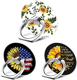 3 Pack Sunflower Cell Phone Ring Stand Transparent Finger Grip Loop 360 Degree Rotation Phones Holder for iPhone 12 11 Pro...