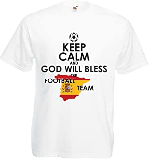 lepni.me T Shirts for Men Keep Calm and God Will Bless The Spanish Football Team